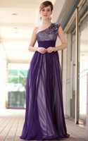 Wholesale 2014 A Line Chiffon One Shoulder Purple Crystal Sequins Beaded Evening Dress Prom Dress Party Gown