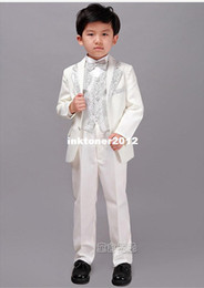 Wholesale 2014 new arrival Special Price Boys Children suits Coat Pants Vest Girdle Tie Formal White silver collar cm
