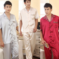 Men Tops Long Johns Korean Mens Faux Silk Pajama Sets Sleepwear Pajamas Stylish Shirt Pants Trousers Free Shipping & Drop Shipping