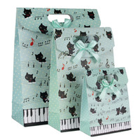 Cartoon Cat Stave Green Gift Paper Bag gift wrapping paper - 12 cm Cartoon Cat Stave Green Gift Paper Bag Personalized Gift Bag Festive Gift Wrap