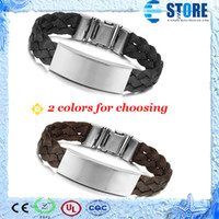 Wholesale Fashion jewelry Stainless Steel Men Bracelet Buckle Black Brown Knitted Belt Silver Simple Bracelets Bangles color WU