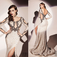 Reference Images Scoop Lace 2014 Dany Tebet Scoop Neckline Long Sleeves Beads Wedding Dress Sheer Panels Side Split Lace Sweep Train Sheath Backless Prom Dresses Gowns