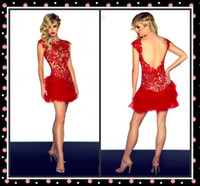 Cheap FX-Wow!! 2014 Sexy Red Homecoming Dress Cap Sleeves Applique Short Length Open Back Lace Tulle Prom Dress Graduation Cocktail Party Dress