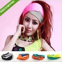 achat en gros de cheveux ruban dhl-Mode gratuit DHL Stretchy Bandeau Bonbons Couleur Sport New Ribbon Yoga cheveux large Bandeau Wrap Head Turban