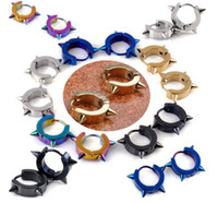 black stainless steel studs - Stainless Steel Men s Earrings Hoop Huggie Ear Stud Black Gold Spike Punk E155 E159