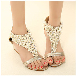 New Rome Shiny Beaded Wedge Sandals low-heeled wedding shoes