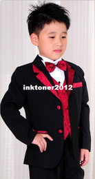 Wholesale new arrival Flower Girl Dresses black tuxedo wedding party birthday present graduation ceremony Boys Suits