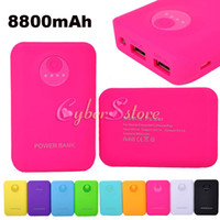 Wholesale 8800mAh Power Bank Portable External Battery Pack Charger with LED Light For Samsung Cellphone phone HTC