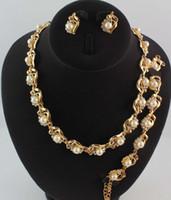 achat en gros de jade perles bracelet-18K plaqué or cristal clair femmes partie perle nuptiale bijoux de mariage ensembles