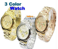 Wholesale 10pcs Luxury High Quality Brand Watch Japan Mov Stainless Steel Wrist Watch Men Women Ladies Quartz Watch Four color