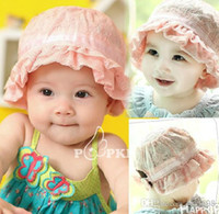 Boy Summer Newborn Hat Wholesale - 2014 latest children's bucket hats baby girl lace princess hat bucket hats baby hats (10pcs lot)