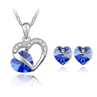 Wholesale 925 sterling silver heart shaped diamond crystal jewelry set color necklace and a pair of earrings Summer hot explosion models z011