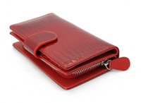Wholesale New Fashion Women Middle Card Bag Lady Purse Leather Wallet Croc Embossed Black Red S2004