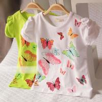 Girl Summer Standard Children T Shirts Tee Shirt Kids Wear Summer Short Sleeve T Shirt Girls Cute Butterfly Printed Shirts Fashion Casual T Shirt ChildGT40326-27