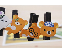 3.5*2.5cm wood clamp - Free ship sets Korean stationery kawaii cute Creative wood clamp easily bear Rilakkuma wooden clamps suit