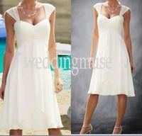 A-Line short sleeve wedding gowns - Cheap Cap Sleeve Knee Length Wedding Gowns Chiffon Custom Made Casual Short Bridal Gown Short Beach Wedding Dresses DL1311199