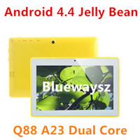 Wholesale Cheapest Tablet PC inch A23 Dual Core Q88 Q8 MID Android Jelly Bean Boxchip Allwinner A23 M G Dual Camera MAH Gift giving