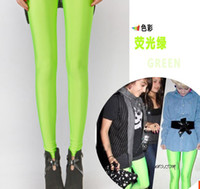 Leggings Skinny,Slim Women 5 PCS lot Sexy Free shipping Shiny Neon Metallic Electric Coloured Leggings Tights pantyhose ankle length trousers leggings mix color >< te