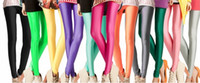 Leggings Skinny,Slim Women 2 PCS lot Sexy Free shipping Shiny Neon Metallic Electric Coloured Leggings Tights pantyhose ankle length trousers leggings < mix color