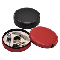 Wholesale 20Pcs Red wine bottle opener set Wine Opener Gift Set Fancy Round Leather Box Wine Kits Set Wine Accessories Set T347