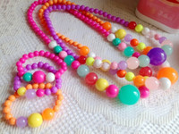 Wholesale 4 Colors Kids Chunky Bead Necklace amp bracelet Set Diy Child Chunky Bubblegum Necklace Jewelry Set Girls L598