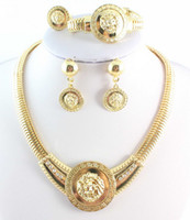 lion head necklace - Vintage Lion Head Necklace Sets Gold Plated Crystal Jewelry Set For Women