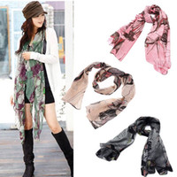 Wholesale Khaki Begonia Flower Ink Style Long Cotton Neck Scarf Solf fashion lady Scarves Shawl H6004