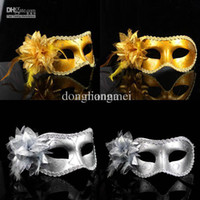 Bauta Mask Halloween Cartoon Mask Wholesale - 50pc Hot sale Sexy Hallowmas Venetian mask,masquerade masks,with flower mask Dance party mask #H22