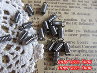 Other Jewelry Findings Metal gunmetal black jewelry findings 5mm outer size spring crimp fastener clasps clips end caps for leather cord 3mm