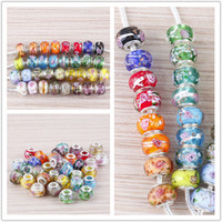 Wholesale 100pcs Mixed Color Lampwork Glass Flower Design Big Hole European Beads Fit Charm Bracelet Chain Jewelry Beads Findings
