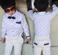 Spring Children Clothing Boys Lapel Collar Polka Dots Bow Ti...