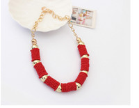 Wholesale Hot New bead choker exaggerated statement Cylinder necklace chunky fashion for women