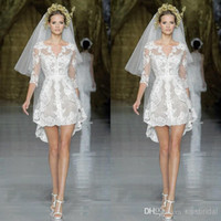 A-Line Model Pictures V-Neck Buy 2014 Zuhair Murad Beach Wedding Dresses V-Neck Sheer Long Sleeves Beading Sashes Lace Appliqued A-Line Short White Bridal Gowns