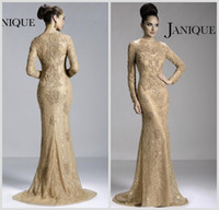 Reference Images Crew Neck Lace 2014 Hot Janique Mother of the Bride Dresses Crew Neck Champagne Lace Long Sleeve Illusion Appliques Beads Mermaid Prom Gowns JQ3411