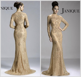 Wholesale 2014 Hot Janique Mother of the Bride Dresses Crew Neck Champagne Lace Long Sleeve Illusion Appliques Beads Mermaid Prom Gowns JQ3411