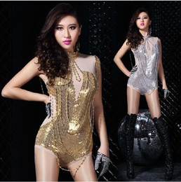Wholesale Singer Sexy Naked Color Gauze Stitching Slim Sequins Jumpsuit Siamese Trousers Party Dancer DS Costumes Hip Hop Jazz Nightclubs Stage Wear