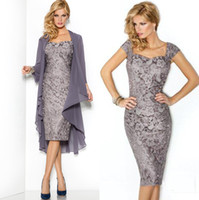Wholesale Vintage Gray Lace Sheath Mother of Bride Dresses with Jacket Long sleeve Formal Evening Bridal Party Gowns Cheap Arabic