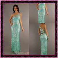 Reference Images One-Shoulder Sequined DN Aqua PV 9703 Sequined Lime Green Prom Dresses One-Shoulder Sheer Neck Sheath Sexy Floor Length Flowy New Fashion Ball Gowns Formal 2014