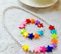 Wholesale Plastic Baby Jewelry Cheap Child Girl Kids Jewelry Sets Bead Necklace Bracelet Sets L599