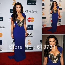 Wholesale Kim Kardashian Evening Dresses Cap Sleeve V Neck Beading Royal Blue Chiffon Long Celebrity Dresses