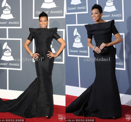 Wholesale Custom made noble black satin mermaid Grammy Awards celebrity dresses with short sleeves bateau backless court train evening prom gowns