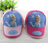 Wholesale 2014 Fashion Frozen Baby Hats Pink Rose Children European Cartoon Princess Elsa Anna Baseball Caps Kids Sun Hats B3305