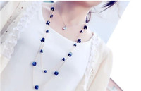 Wholesale New Fashion Style Gold Rope Square Bead Crystal Long Chain Necklace colors Pieces