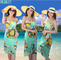 Wholesale 2014 Hot Sale Summer Models Harness Dress Hawaii Sanya Beach Dress Beach Towel Sexy Scarf Six Colors Sarongs