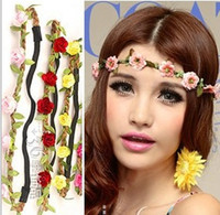 Headbands multicolor South American Bride Bohemian Flower Headband Festival Wedding Floral Garland Hair Band Headwear Hair Accessories for Women QC2