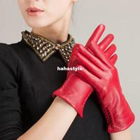 Wholesale KURSHEUEL new lady fashion winter warm gloves embroidered sheepskin leather gloves importedH14