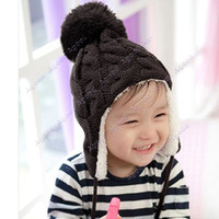 Wholesale 2014 new fashion Baby Stripe Plus Velvet Ear Protectors Outside Crochet Knit Inside Wool Cap Hanging Ball Knitted winter Hats