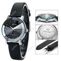 Wholesale S5Q Fashion Crystals Women s Quartz Watch Dress Style Leather Wrist Watch Gift AAADAX