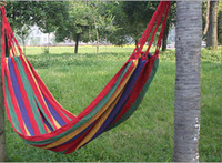 Wholesale Best quality Canvas X cm Single outdoor hammock tourism camping hunting Leisure Fabric Stripes