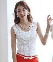 Sleeveless Cotton  Summer Fashion Top Lace blouses Casual Sleeveless Plus Size blouses For Women Black White S-XXL size slim Tanks W4173